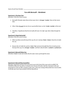 Fun with Bernoulli: Activities (with teacher instructions)