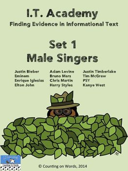 Fun with Informational Text at I.T. Academy: Set 1 Male Singers