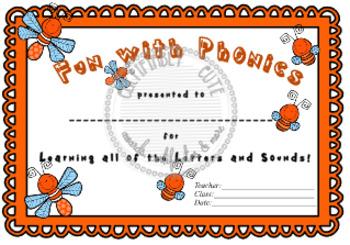 Fun with Phonics Certificate