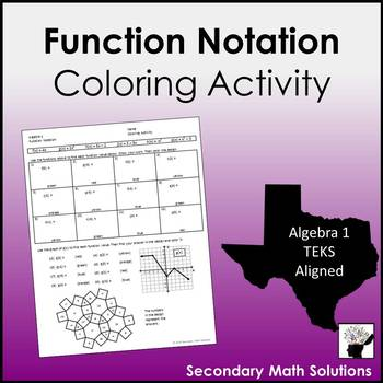 Function Notation Coloring Activity