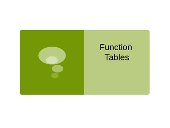 Function Tables Interactive PowerPoint
