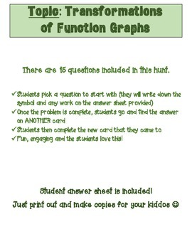 Function Transformations Scavenger Hunt
