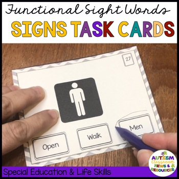 Functional Reading Task Cards: Read the Signs {Special Ed; Autism}