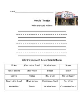 Functional Words- At the Movie Theater