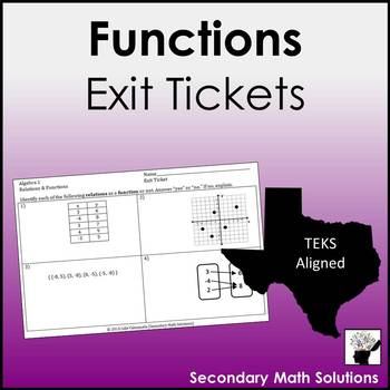 Functions Exit Tickets (or Warm-ups)