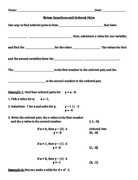 Functions, Function Notations, Equations and Tables Notes