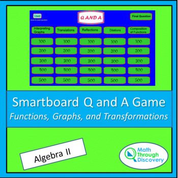 Algebra II Smartboard Q and A Game - Functions, Graphs, an