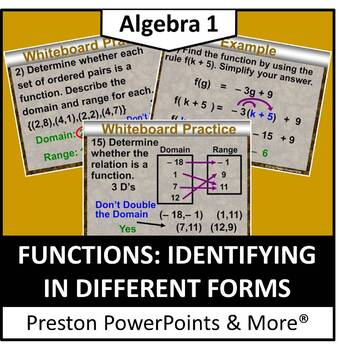 Functions: Identifying in Different Forms in PowerPoint Pr