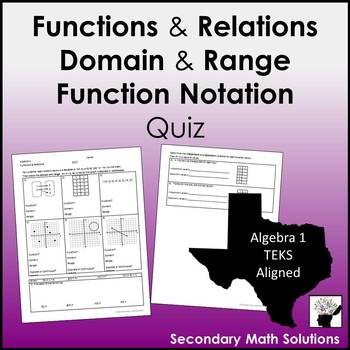 Functions & Relations, Domain & Range, Function Notation Quiz
