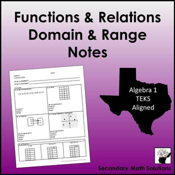 Functions & Relations, Domain & Range Notes