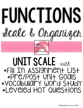 Functions Unit Scale and Organizer Go Math Marzano