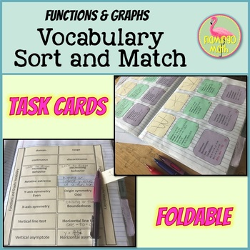 PreCalculus: Functions and Graphs Vocabulary Sort & Match