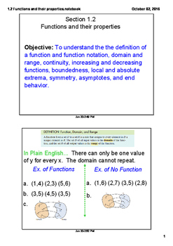 Functions and Their Properties Advanced Math/Pre Calculus
