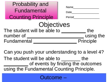 Fundamental Counting Principle and Probability Student Not