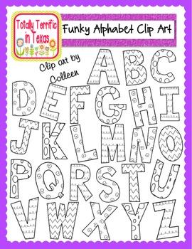 Funky Alphabet Clip Art (Uppercase)