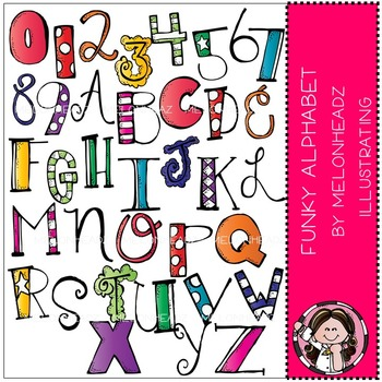 Melonheadz: Funky Alphabet clip art - COMBO PACK