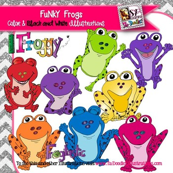 Funky Bright Colored Frogs Clip Art