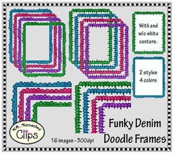 Funky Denim Doodle Frames - Clip Art