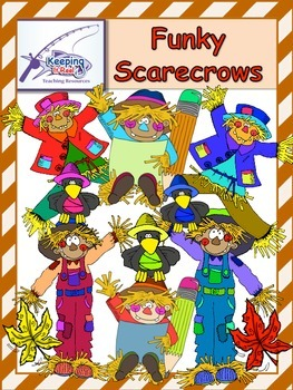 Funky Scarecrows (55 clip art images- 39 colored and 16 bl