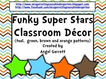 Funky Super Star Cubbie Tags & Desk Plates FREEBIE