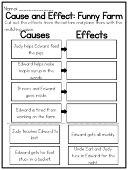 """Funny Farm"" Cause and Effect Worksheet"