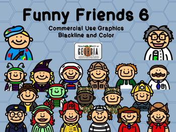 Funny Friends 6 Clipart Collection-Headshots-Commercial Us
