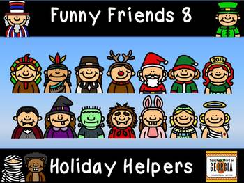 Funny Friends 8- Clipart Collection-Holiday Helpers-Headshots