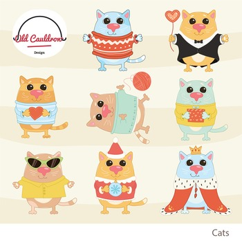 Funny cats clipart commercial use, kittens clipart CL016