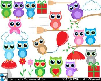 Funny owls Digital Clip Art Graphics 43 PNG images cod137
