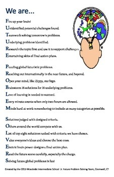 Future Problem Solvers Acrostic Poster 11X17 Future Proble