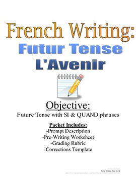 Future Tense French Writing Prompt with Rubric and Pre-Writing