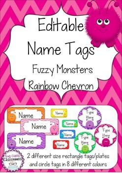 Fuzzy Monster Editable Name Tags / Desk Plates - Rainbow Chevron