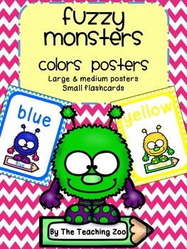 Fuzzy Monsters Theme Color Identification Posters
