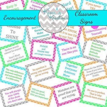 Fynn Encouragement Classroom Signs