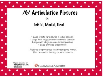 /G/ Articulation Words