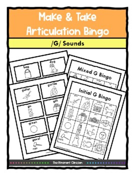 G Sound ARTICULATION BINGO Make & Take, SPEECH THERAPY