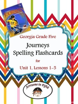 Georgia Grade 5 Journeys Spelling Flashcards for Unit 1, L