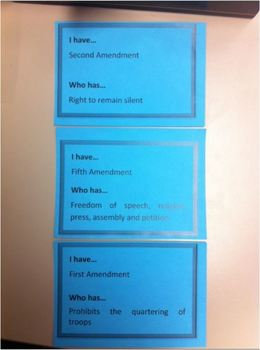 GAME: CHAIN CARDS- CONSTITUTION, BILL OF RIGHTS, AMENDMENT