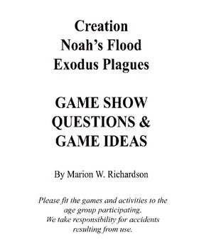 GAME NIGHT: Creation, Noah's Flood, & Exodus Plaques Packet