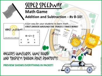 GAME: Super Speedway Math Fun, Addition/Subtraction, 0-10,