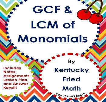 GCF & LCM of Monomials Middle School Math