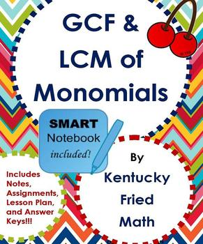 GCF & LCM of Monomials SMART Notebook & Printables Middle
