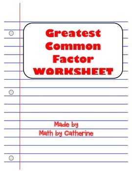 GCF Worksheet