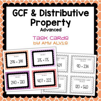 GCF and Distributive Property - Advanced Task Cards - SCOOT