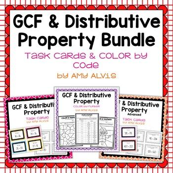 GCF and Distributive Property Task Cards BUNDLE - SCOOT