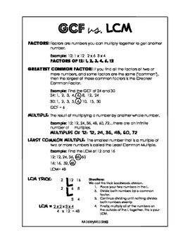 GCF vs. LCM Printable