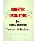 GEOMETRIC CONSTRUCTION LESSONS(BUNDLED) FOR MIDDLE AND HIG