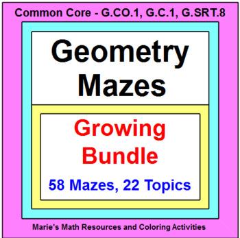 GEOMETRY MAZES BUNDLE (50 Mazes on 20 Topics)