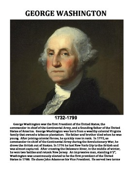 GEORGE WASHINGTON: BIOGRAPHY WORKSHEET, TEXT, QUIZ, ANSWER