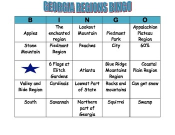GEORGIA REGIONS BINGO CARD 5